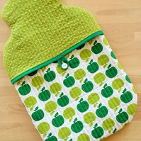 """APPLE GREEN"" - Quilted Hot Water Bottle Cover"