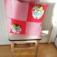 """APPLE-WHITE"" Patchwork Quilted Cushion Cover"