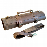Rugged Leather Knife Case Chefs Bag Knife Roll - Masai B