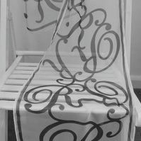 Ladies (Initial R) Hand Design Chiffon Scarf. Personalised Monogram Gift for Her