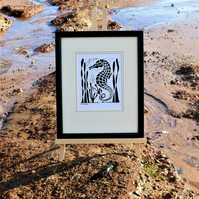 Nautical But Nice. Seahorse, Seaside inspired limited edition linocut print