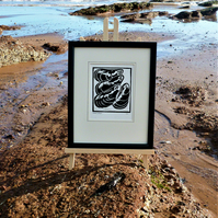 Nautical But Nice. Mussels. Seaside inspired limited edition linocut print