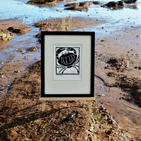 Nautical But Nice. Crab. Seaside inspired limited edition linocut print