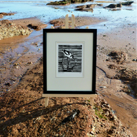 Nautical But Nice. Avocet. Seaside inspired limited edition linocut print