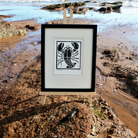 Nautical But Nice. Lobster. Seaside inspired limited edition linocut print