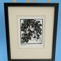Oak Leaves and Acorns. Nature inspired limited edition linocut print