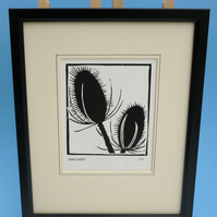 Teasels. Nature inspired limited edition linocut print