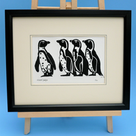 Penguins. Nature inspired limited edition linocut prints