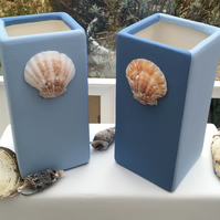Nautical But Nice. Seaside Inspired Single Two Tone Vase