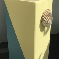 Nautical But Nice. Single Large Vase in Yellow-Turquoise or Pink-Lime