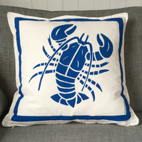 Nautical But Nice. Lobster Cushions in Dark or Light Blues