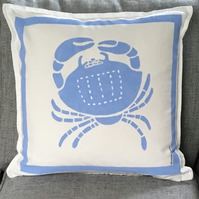 Nautical But Nice. Crab Cushions in Light Blue or Dark Blue