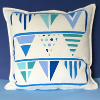 Nautical But Nice. Beach Hut Bunting Cushion
