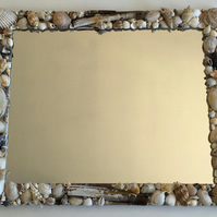 Nautical But Nice. On The Beach Large Seashell Mirror