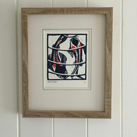 Coy Koi. Nature Inspired Limited Edition Linocut Print