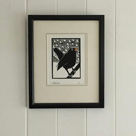 Black Bird White Snow. Nature Inspired Limited Edition Linocut Print
