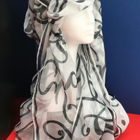 Ladies (Initial D,E or F) Hand Designed Chiffon Scarf.