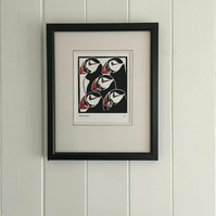 Nautical But Nice. Five Puffins Limited Edition Linocut Print