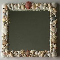 Nautical But Nice. Pink Scallop Seashell Mirror