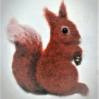 Red Squirrel Brooch  Needle felted MADE TO ORDER with acorn detail