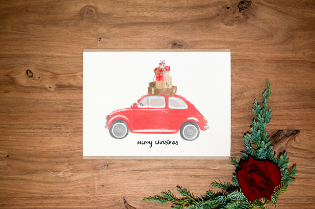 Car Christmas Card - Pack of 6 - Fiat 500 Card - Vintage Car Christmas - Red Car