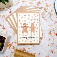 Hand Drawn Gingerbread Man Card Set -Christmas Card Pack of 6 - Couple Card
