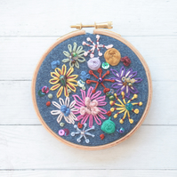 Denim and sparkles embroidery hoop