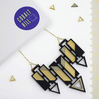 Arrow Bar Statement Necklace Large in Gold & Bronze