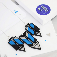 Arrow Bar Statement Necklace Large in Blue & Silver