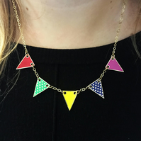 Bunting Necklace in Bright Colour Enamels