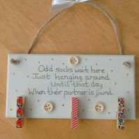 Odd Sock Wooden Wall Plaque Sign With Little Wooden Pegs To Hang Lost Socks
