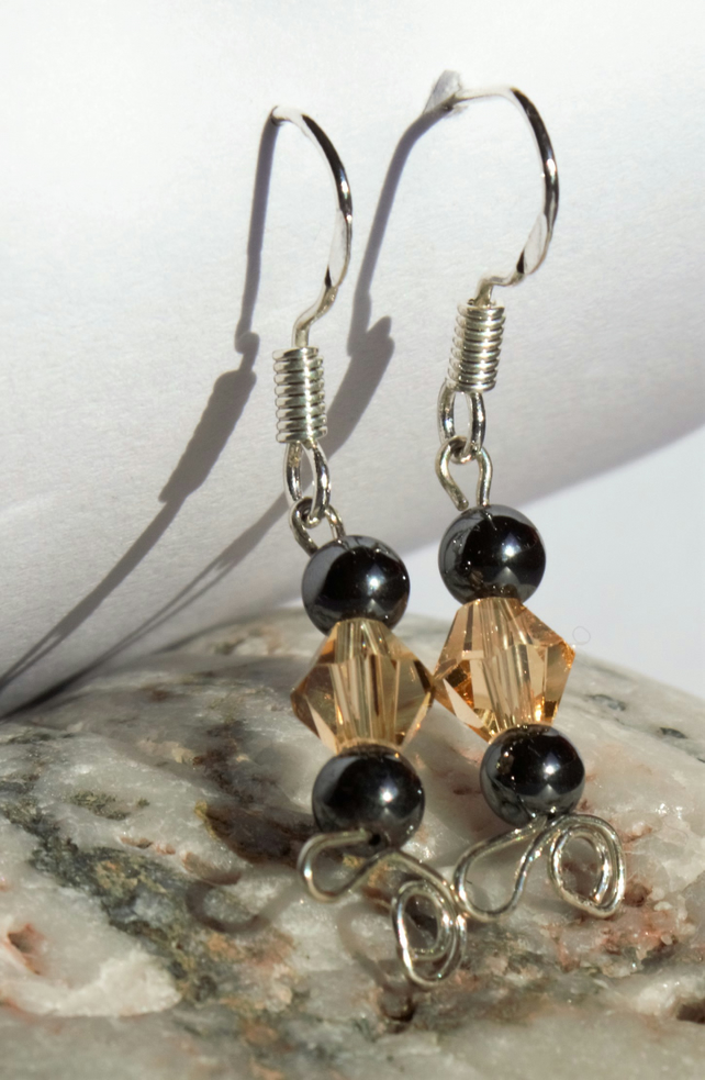 Sterling Silver, Czech Crystal and Haematite gemstone earrings