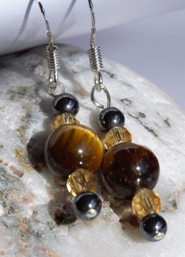 Sterling Silver, Golden Tigers eye, Czech glass and Haematite gemstone Earrings