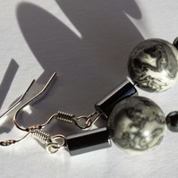 Jasper and Haematite gemstone and sterling silver earrings