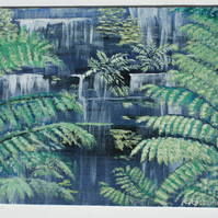 Waterfall, framed acrylic on canvas board