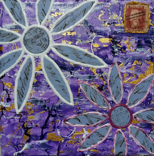 Flower 8 Abstract Original Wall Art,The Flower Collection. Acrylic on Canvas