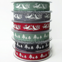Christmas Ribbon 2metres. DOVES and FOREST. Green Red Black Grey. 15mm.
