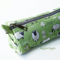 Zipped 'Sheep' Knitting Needle Case or Pouch, Extra Long.