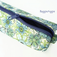 Extra Long Knitting Needle Case, Blue & Green Floral