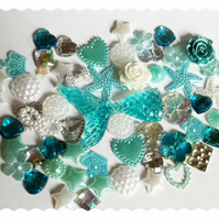 Mermaid tail Diy Decoden kit. Blue glitter tail. Embellishment-Cabochon