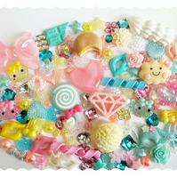 HUGE KAWAII HOPPE CHAN DECODEN KIT. SWEETS,ICE CREAM,BOW,HEARTS,FOOD,CAKE,CANDY.