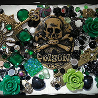 Decoden Poison cameo Decoden kit. Cabochons,bronze,Vintage,macabre,Steampunk.