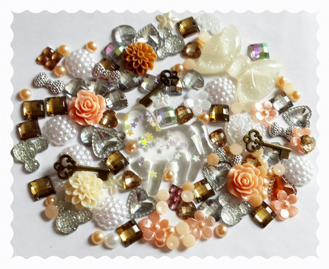 Glitter Unicorn Diy Decoden kit. Peach,bronze and white mix,Vintage, Shabby chic