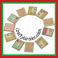 Miniature wooden Christmas themed postcards. Perfect for Christmas crafts.