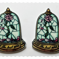 2  Beauty & the Beast themed cabochons. Until the last petal falls,Rose in jar.