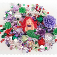 Cute Mermaid Ariel Themed Diy Decoden kit. Cabochons, Embellishments, Pearls.