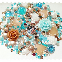 Young Jasmin Diy decoden kit embellishments blue. bronze and white sparkle.