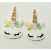 2 flower crowned Unicorn resin cabochons. Kawaii, Decoden, flatbacks.  38mm