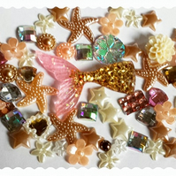 Mermaid tail Diy Decoden kit. Pink & gold tail. Shabby Chic, Vintage theme.