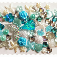 Mermaid tail Diy Decoden kit. Blue & Silver glitter tail. Embellishment-Cabochon